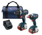 Bosch CLPK251-181 18V 2-Tool Combo Kit Impact Driver Compact Hammer Drill/Driver