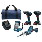 Bosch CLPK496A-181 18V 4-Tool Combo Kit Drill Driver Impact Driver Compact Reciprocating Saw