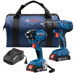 Bosch GXL18V-26B22 18V 2-Tool Combo Kit with Compact 1/2 In. Drill/Driver and 1/4 In. Hex Impact Driver