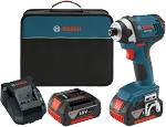 Bosch IDS181-01 18 V 1/4 In. Hex Compact Tough Impact Driver w/ 2 Fat Pack Batteries