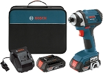 Bosch IDS181-02 18 V 1/4 In. Hex Compact Tough Impact Driver with 2 SlimPack Batteries