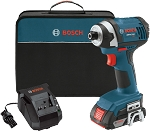 Bosch IDS181-102 18 V 1/4 In. Hex Compact Tough Impact Driver w/ 2 SlimPack Batteries